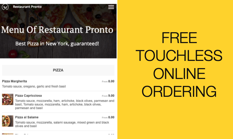 TOUCHLESS ONLINE ORDERING